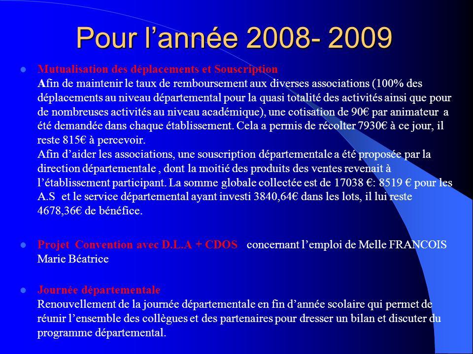 Pour l'année 2008- 2009