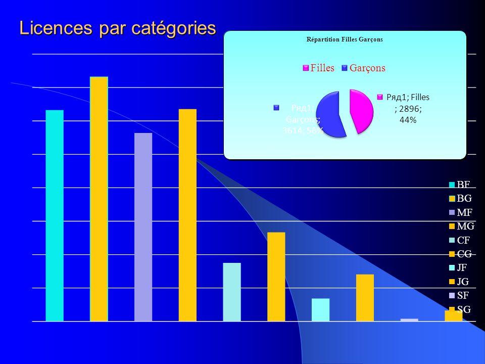 Licences par catégories