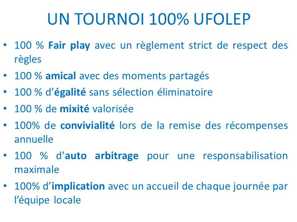 UN TOURNOI 100% UFOLEP 100 % Fair play avec un règlement strict de respect des règles. 100 % amical avec des moments partagés.