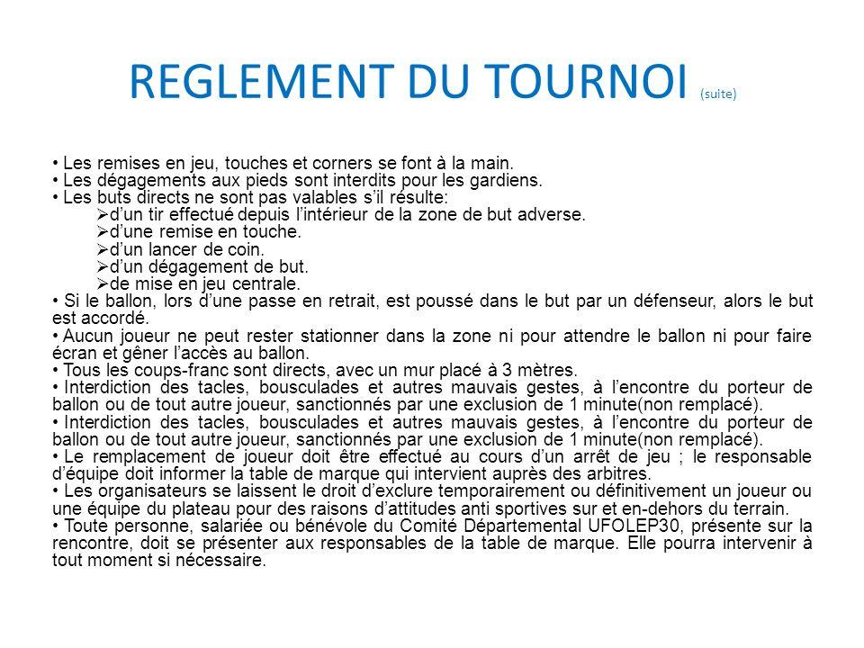 REGLEMENT DU TOURNOI (suite)