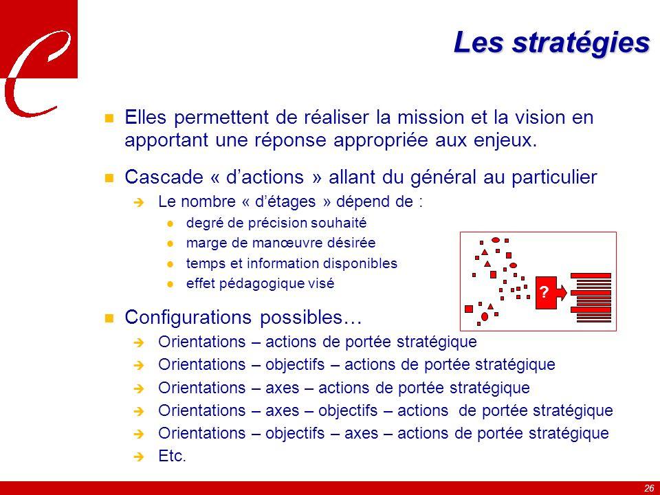 Les stratégies Elles permettent de réaliser la mission et la vision en apportant une réponse appropriée aux enjeux.