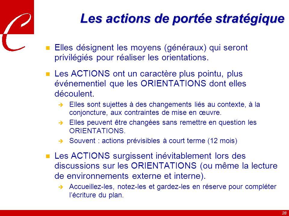 Les actions de portée stratégique