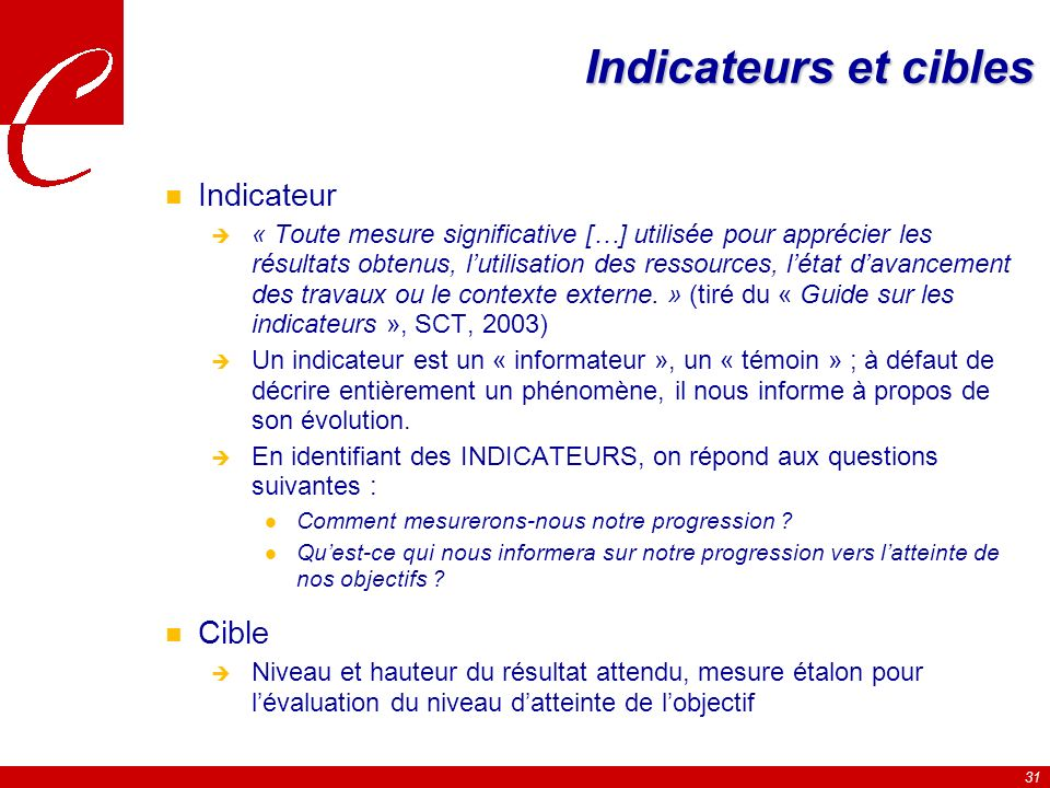 Indicateurs et cibles Indicateur Cible