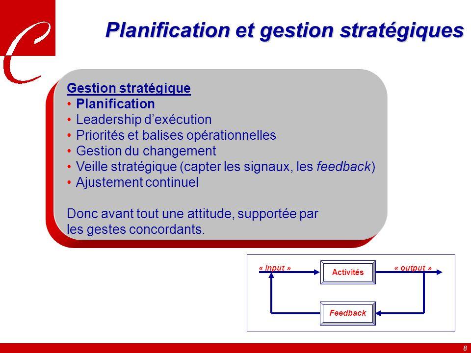Planification et gestion stratégiques