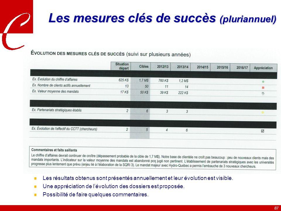 Les mesures clés de succès (pluriannuel)