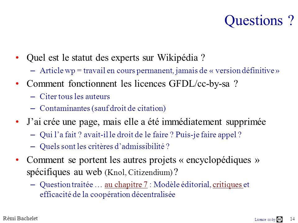 Questions Quel est le statut des experts sur Wikipédia