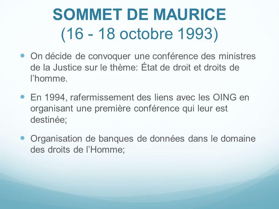 SOMMET DE MAURICE (16 - 18 octobre 1993)