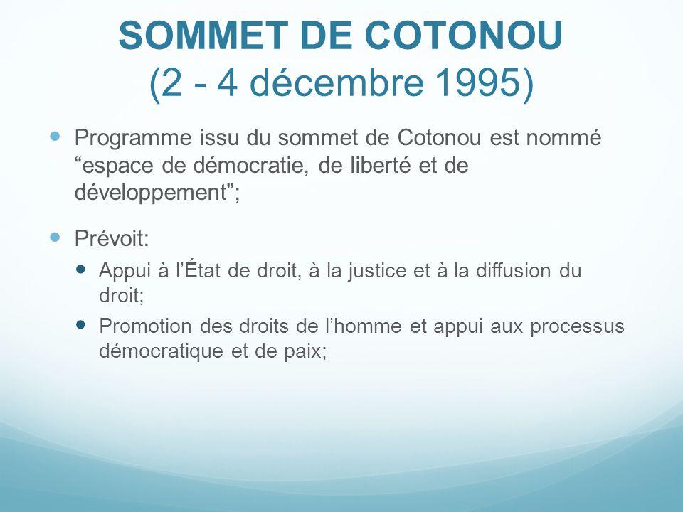 SOMMET DE COTONOU (2 - 4 décembre 1995)