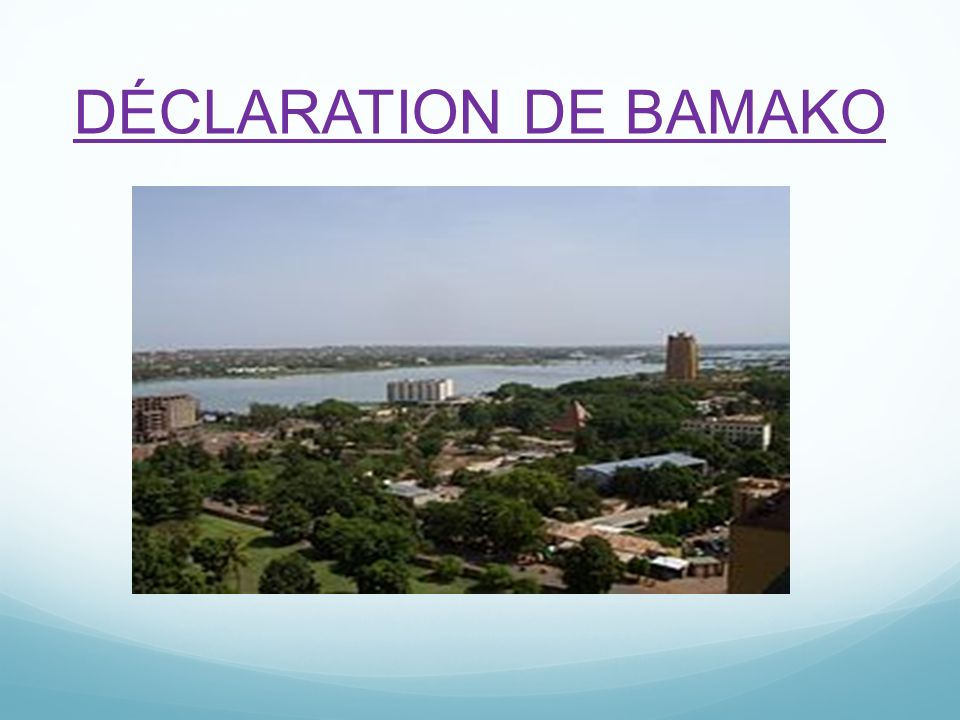 DÉCLARATION DE BAMAKO