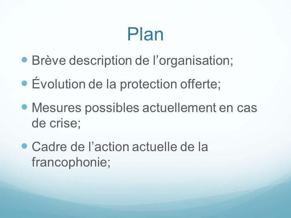 Plan Brève description de l'organisation;