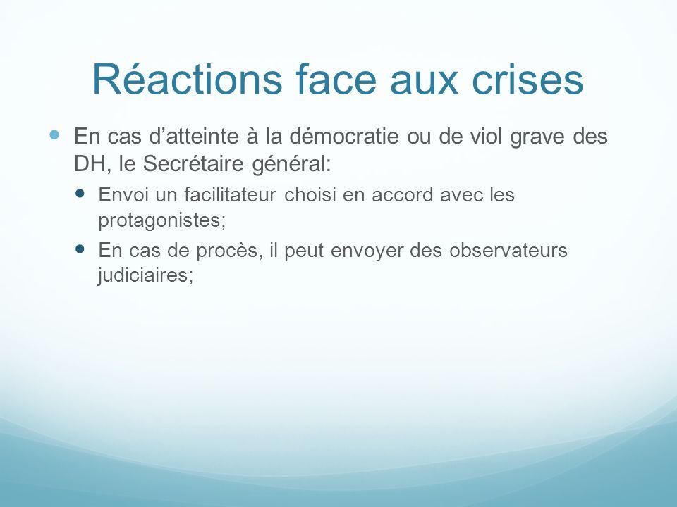 Réactions face aux crises