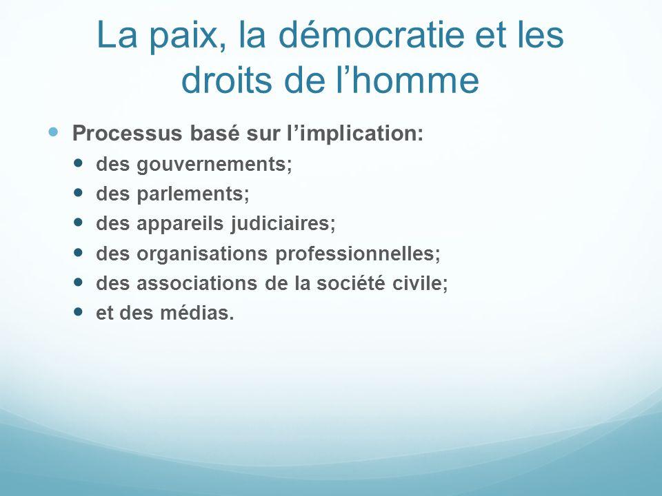 La paix, la démocratie et les droits de l'homme