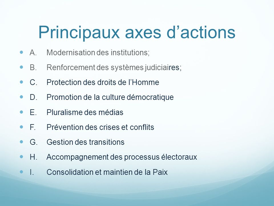 Principaux axes d'actions