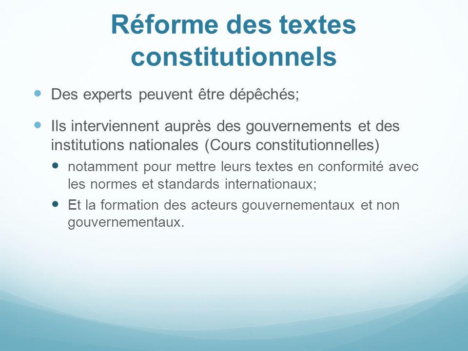Réforme des textes constitutionnels