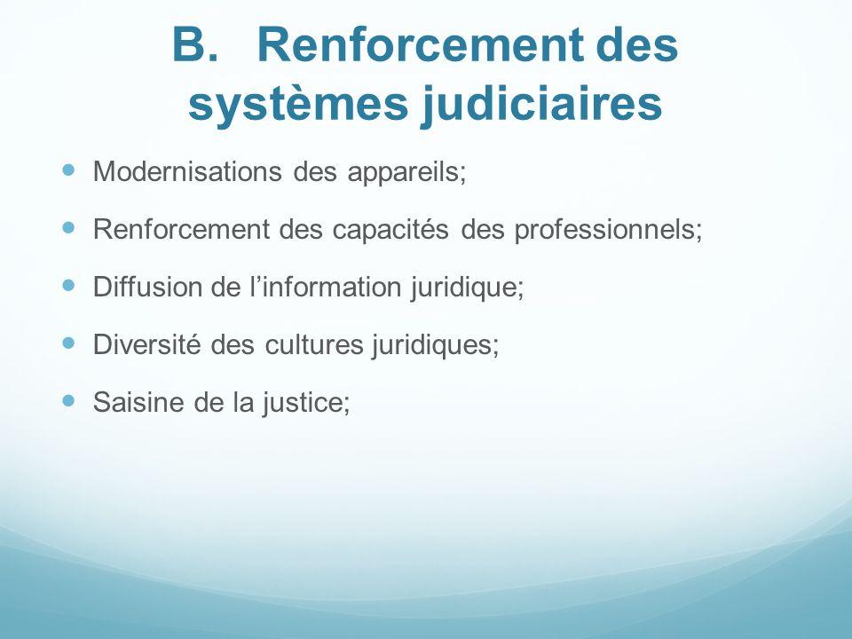 B. Renforcement des systèmes judiciaires