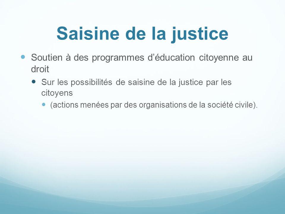 Saisine de la justice Soutien à des programmes d'éducation citoyenne au droit. Sur les possibilités de saisine de la justice par les citoyens.