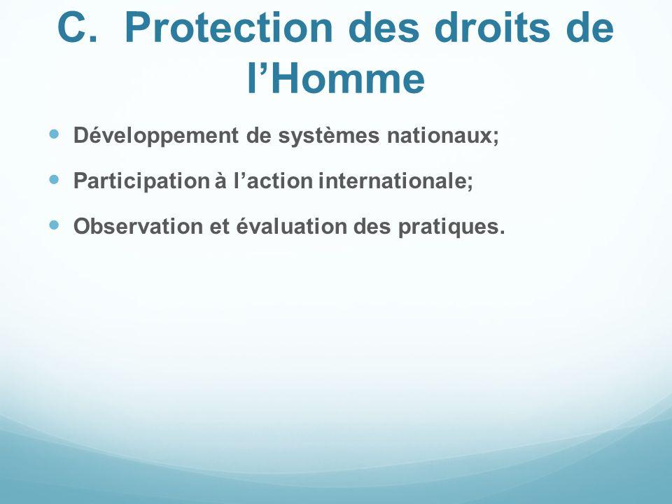C. Protection des droits de l'Homme