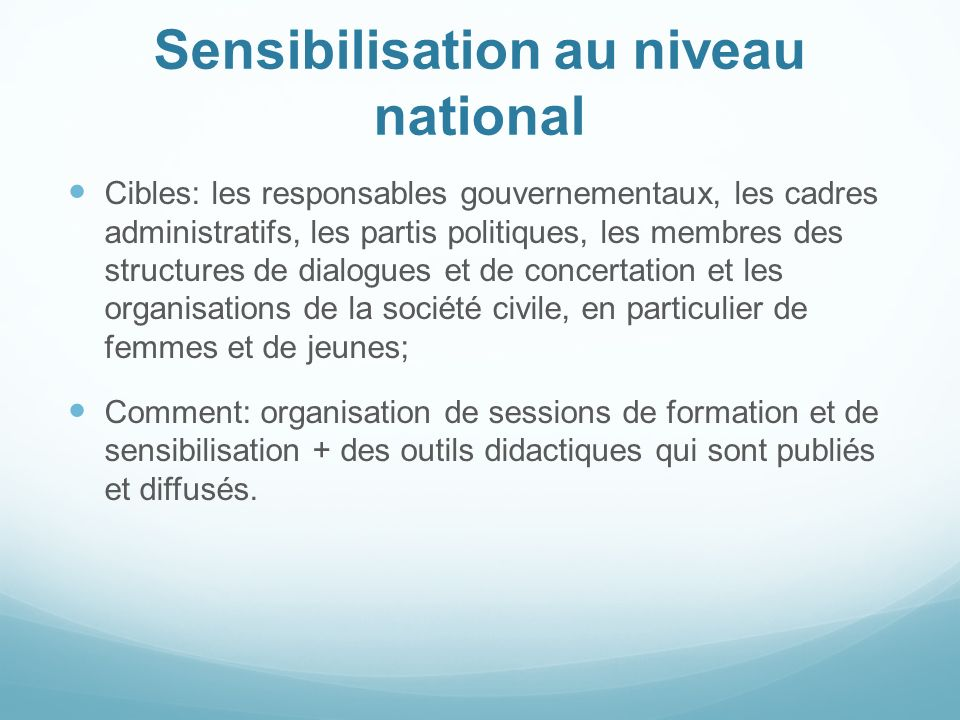 Sensibilisation au niveau national