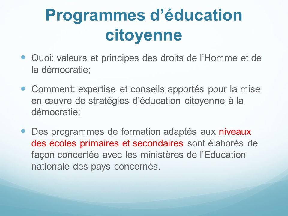 Programmes d'éducation citoyenne