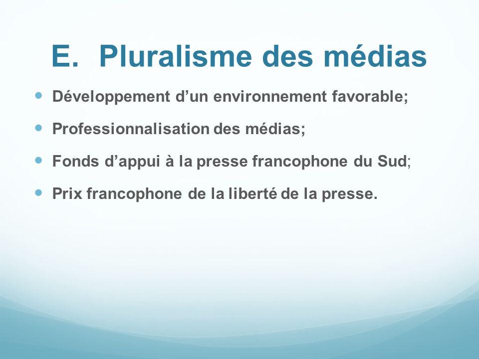 E. Pluralisme des médias