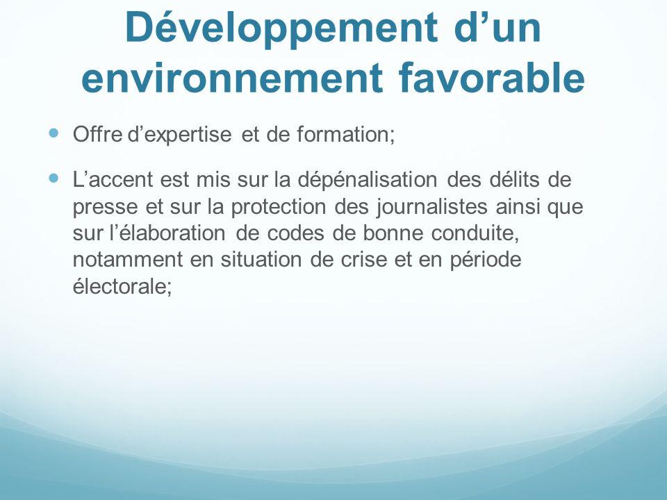 Développement d'un environnement favorable