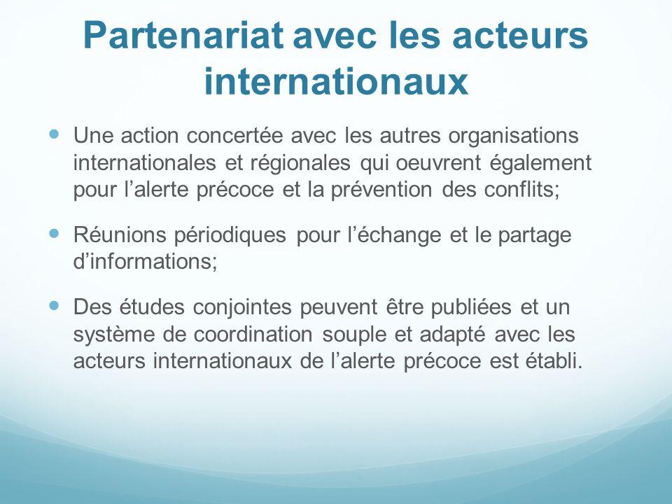 Partenariat avec les acteurs internationaux