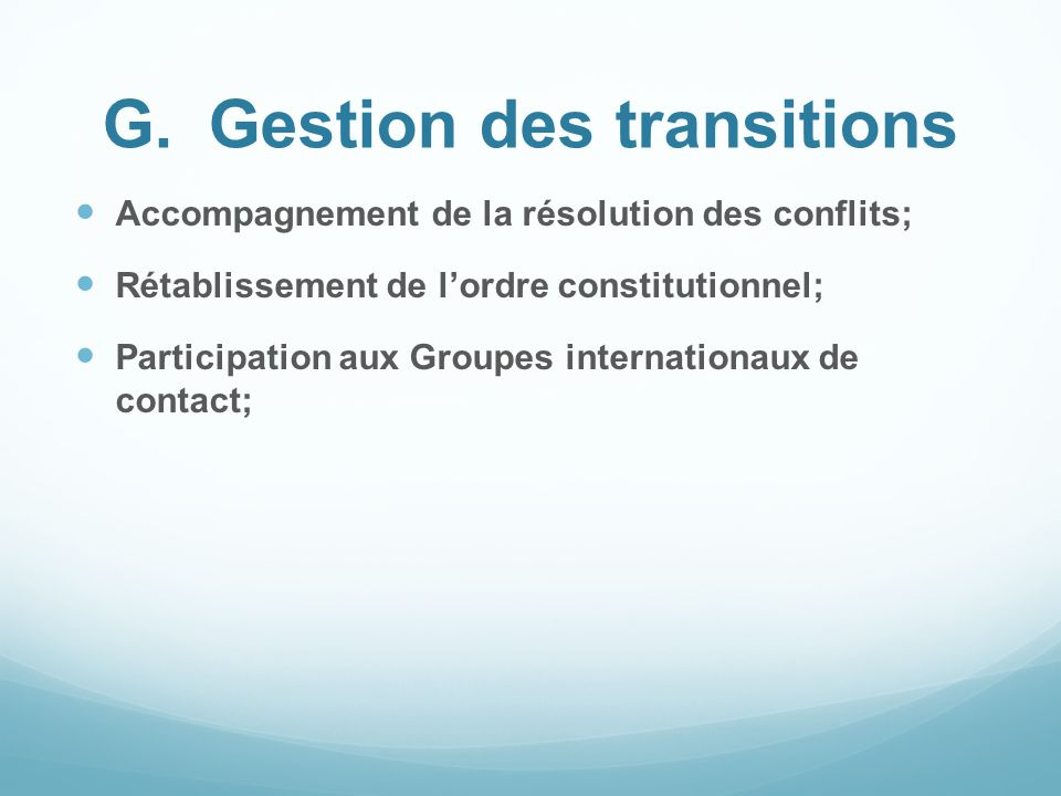 G. Gestion des transitions