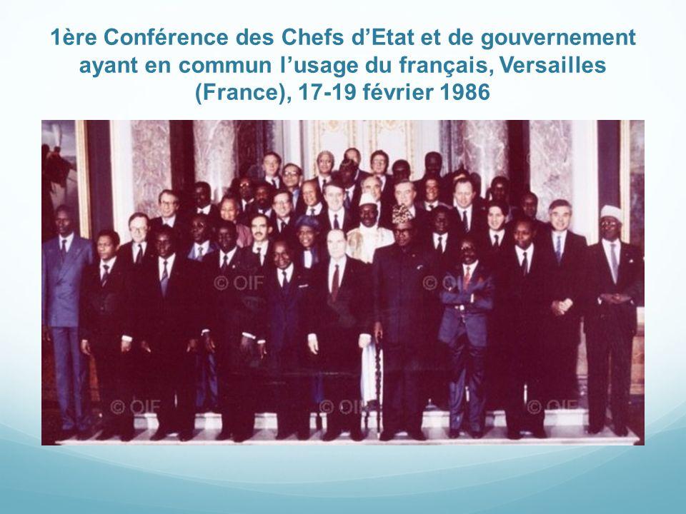 1ère Conférence des Chefs d'Etat et de gouvernement ayant en commun l'usage du français, Versailles (France), 17-19 février 1986