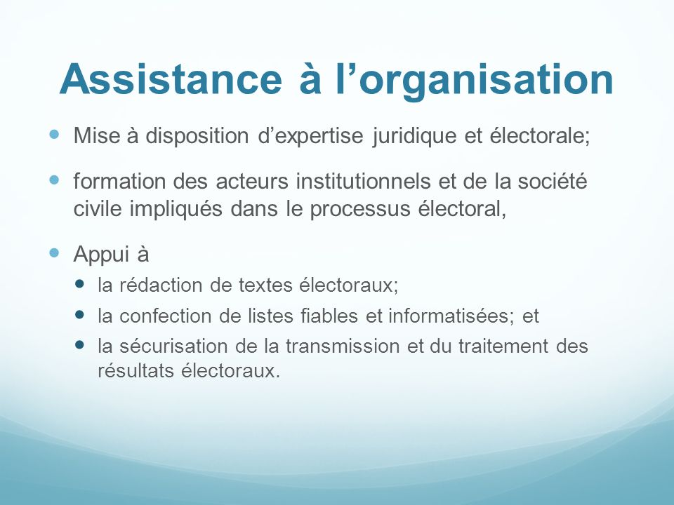 Assistance à l'organisation