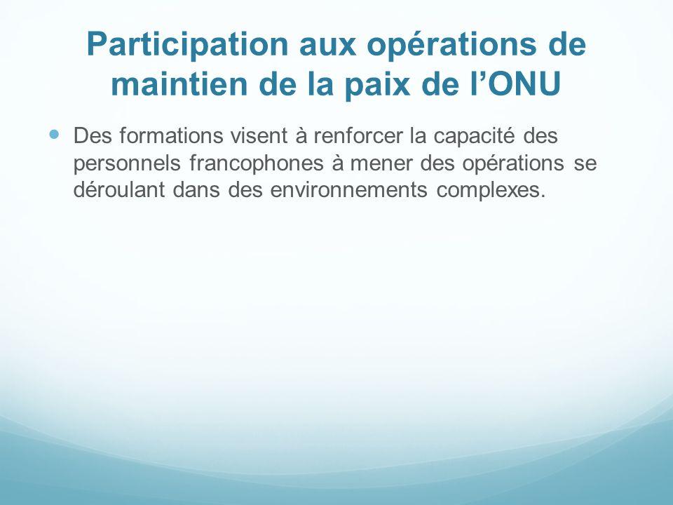 Participation aux opérations de maintien de la paix de l'ONU
