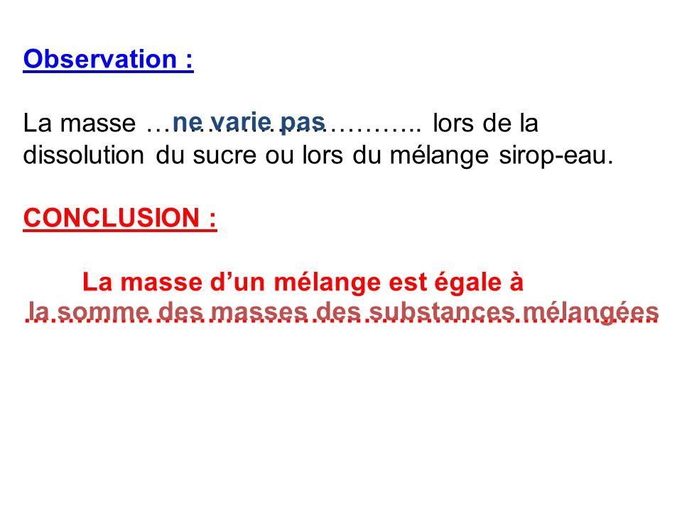 Observation :La masse ………………………….. lors de la dissolution du sucre ou lors du mélange sirop-eau. CONCLUSION :