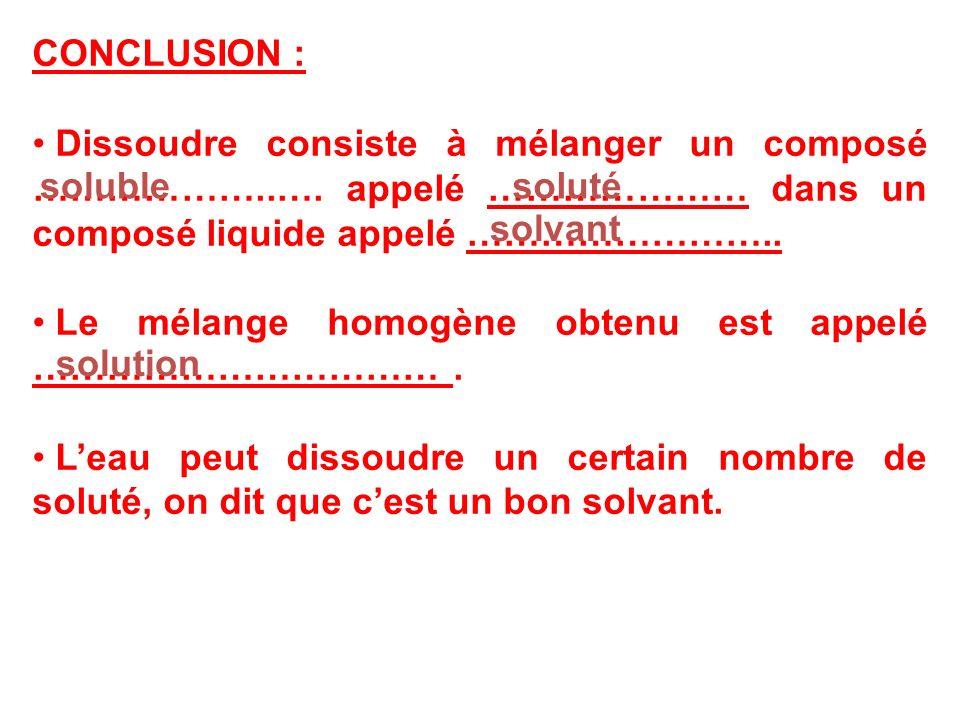 CONCLUSION : Dissoudre consiste à mélanger un composé ………………..…. appelé ………………… dans un composé liquide appelé ……………………..