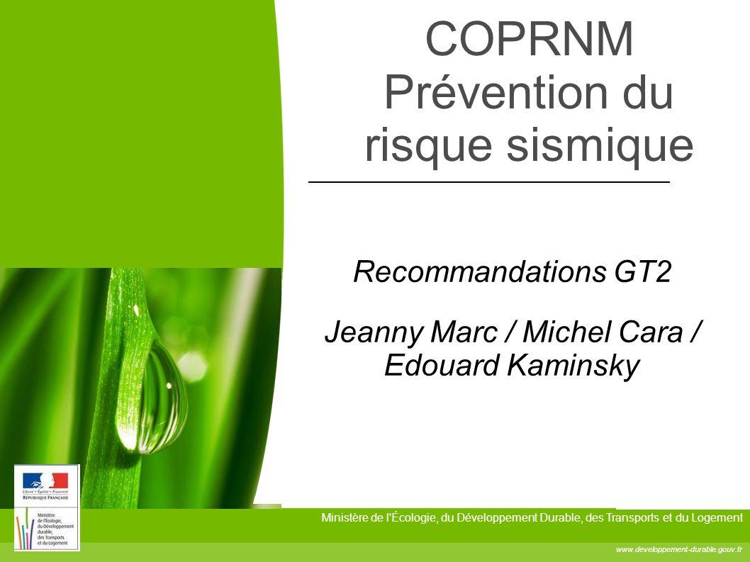 COPRNM Prévention du risque sismique