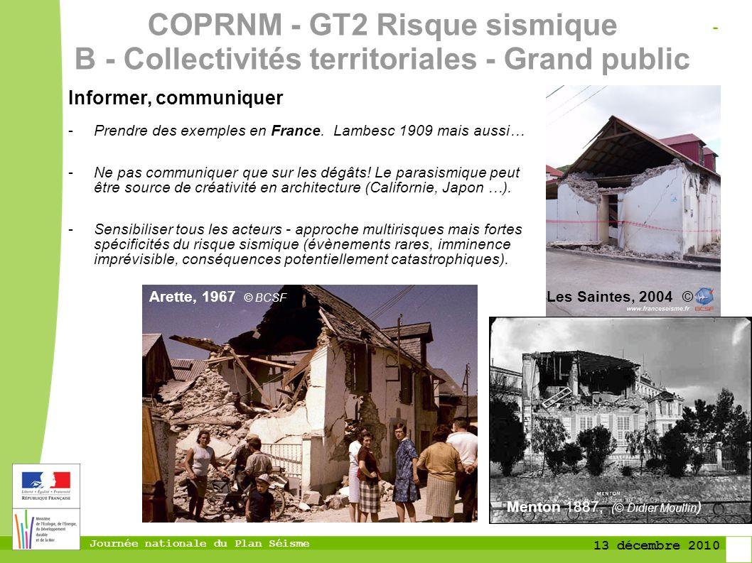 COPRNM - GT2 Risque sismique B - Collectivités territoriales - Grand public