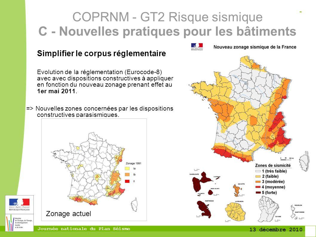 COPRNM - GT2 Risque sismique C - Nouvelles pratiques pour les bâtiments