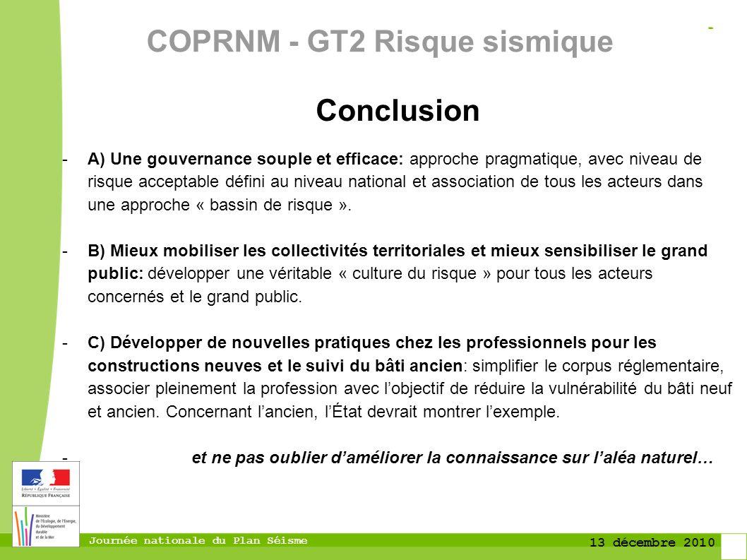 COPRNM - GT2 Risque sismique