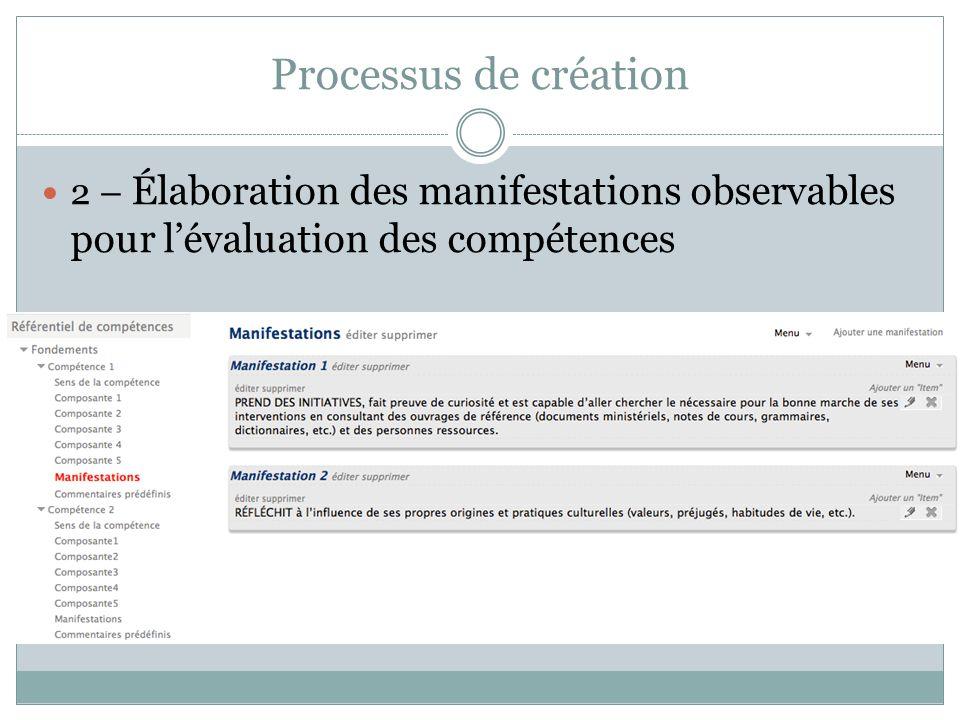 Processus de création 2 – Élaboration des manifestations observables pour l'évaluation des compétences.