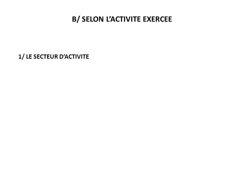 B/ SELON L'ACTIVITE EXERCEE