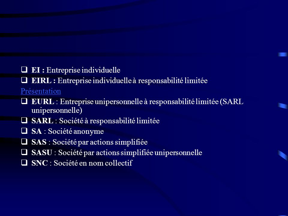 EI : Entreprise individuelle