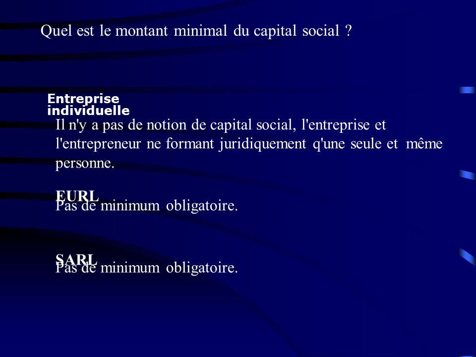 Quel est le montant minimal du capital social