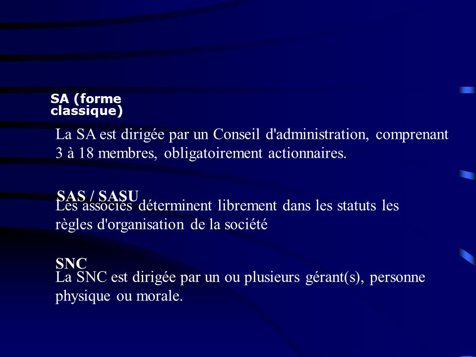 SA (forme classique) La SA est dirigée par un Conseil d administration, comprenant 3 à 18 membres, obligatoirement actionnaires.