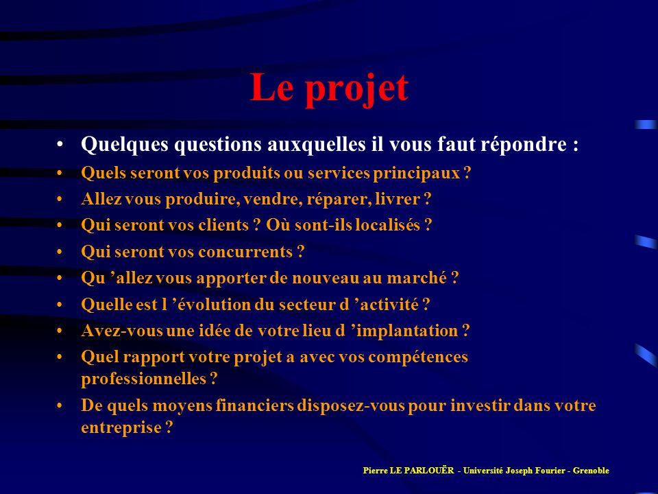 Le projet Quelques questions auxquelles il vous faut répondre :