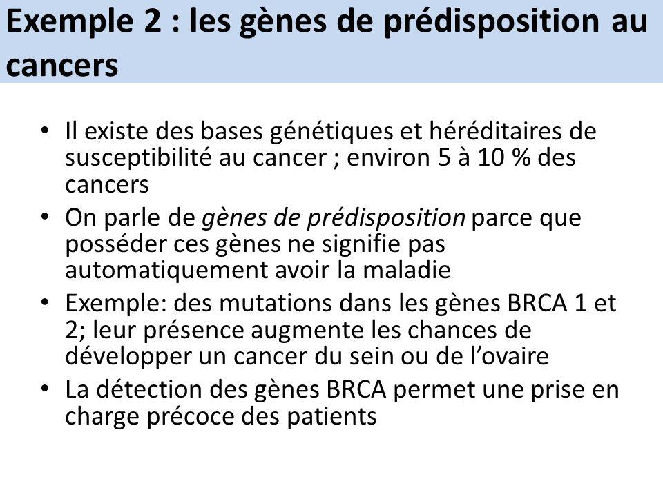 Exemple 2 : les gènes de prédisposition au cancers