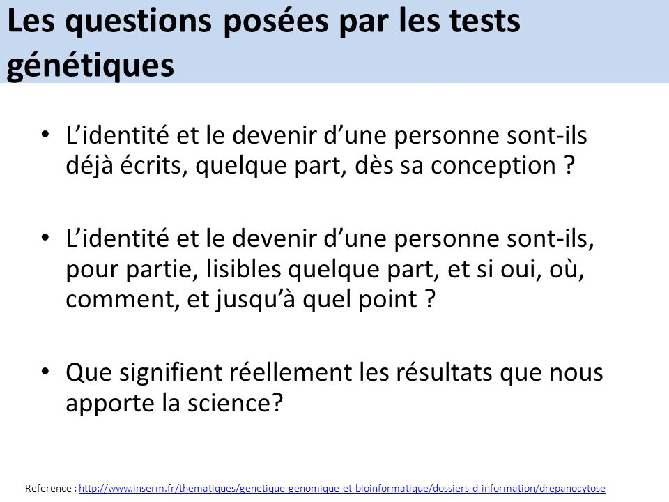Les questions posées par les tests génétiques