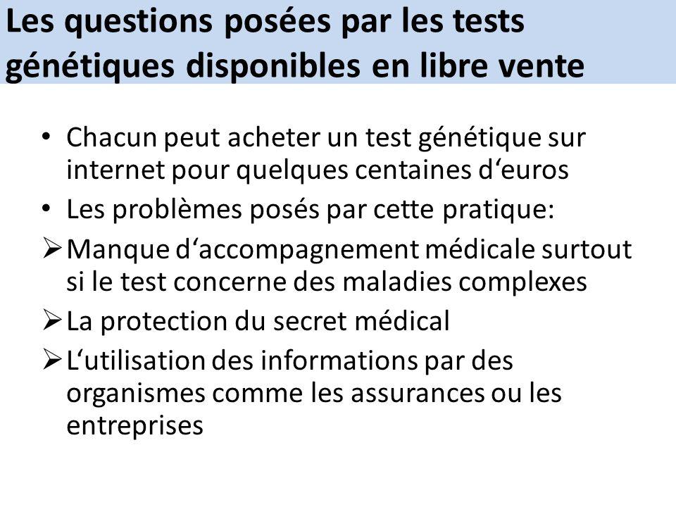 Les questions posées par les tests génétiques disponibles en libre vente
