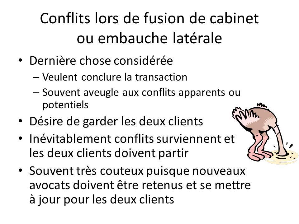 Conflits lors de fusion de cabinet ou embauche latérale