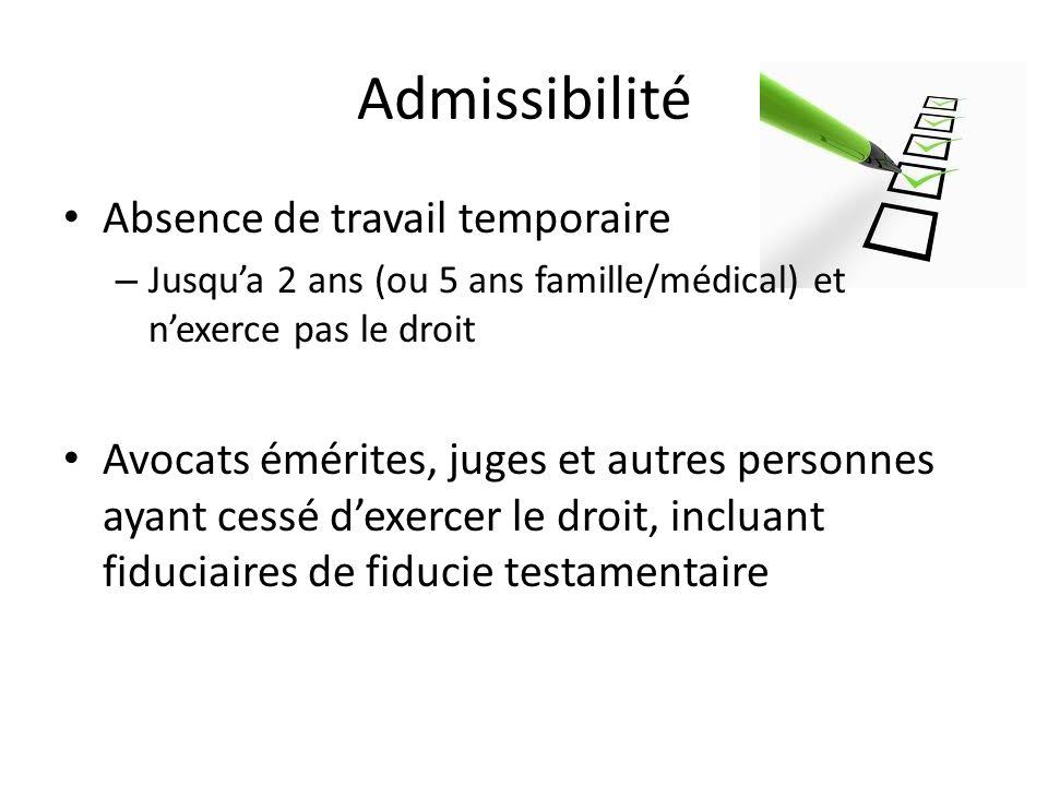 Admissibilité Absence de travail temporaire