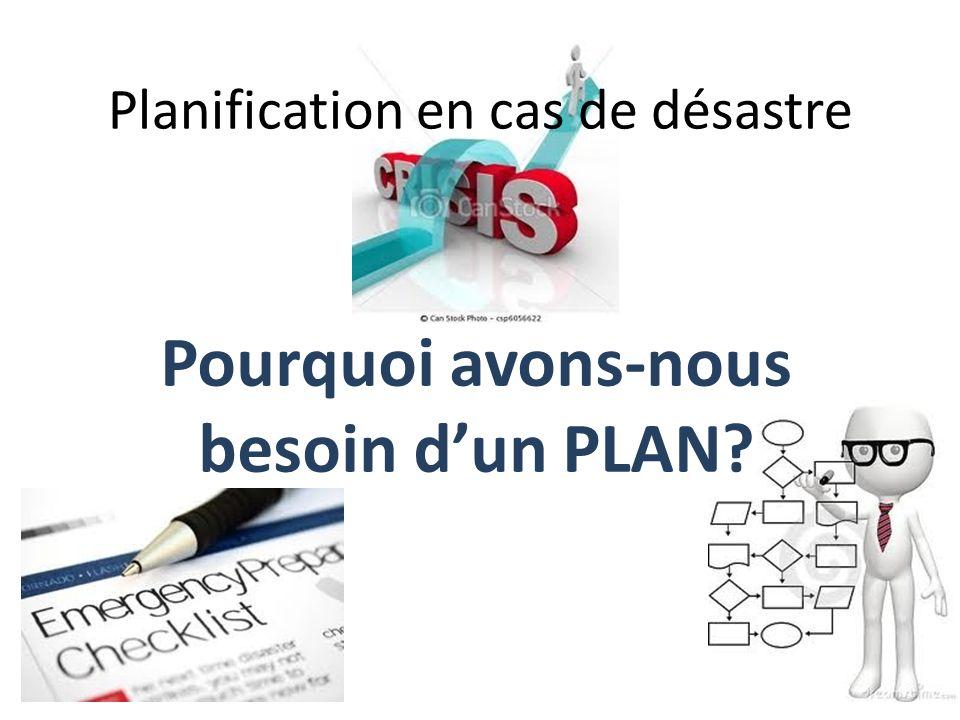 Planification en cas de désastre