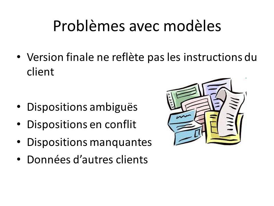 Problèmes avec modèles