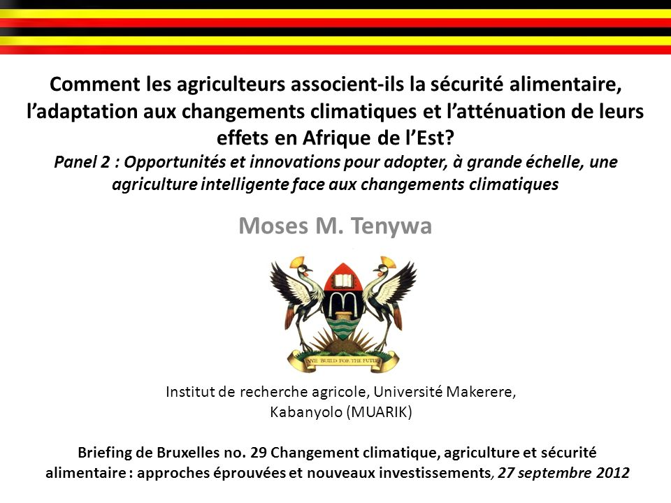 Comment les agriculteurs associent-ils la sécurité alimentaire, l'adaptation aux changements climatiques et l'atténuation de leurs effets en Afrique de l'Est Panel 2 : Opportunités et innovations pour adopter, à grande échelle, une agriculture intelligente face aux changements climatiques